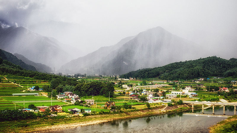 Landscape shot of Pyeongchang countryside.